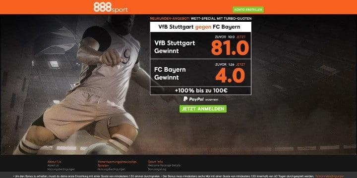 Bei 888Sport wartet ein Stuttgart gegen Bayern Wett-Special mit Turbo-Quoten auf Neukunden