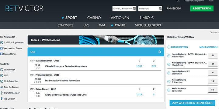 Tennis Wetten bei dem Sportwettenanbieter BetVictor