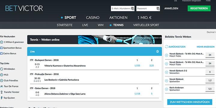 Tenniswetten bei dem Sportwettenanbieter BetVictor