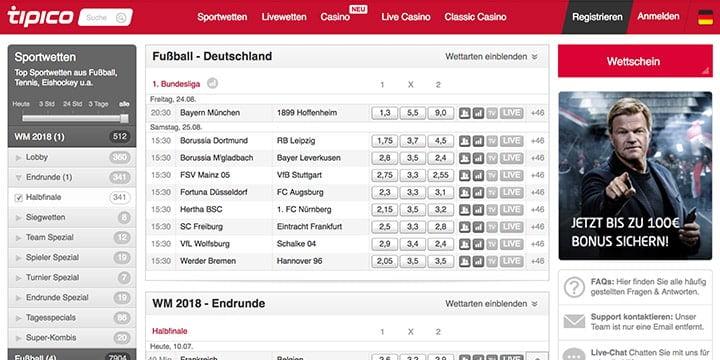 Bundesliga Wetten bei Tipico