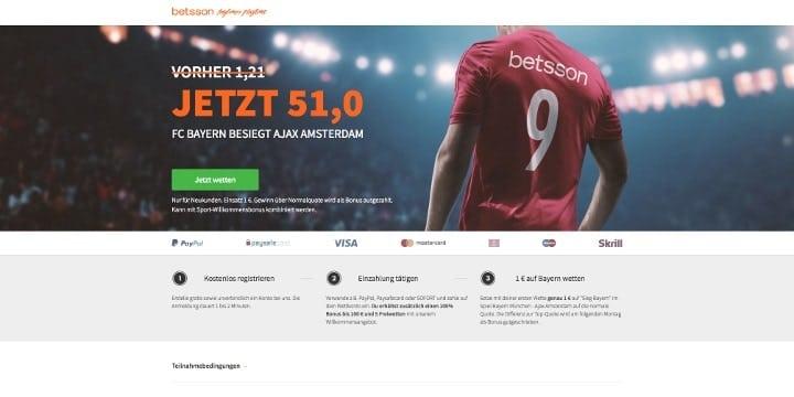 Betsson - Der exklusive Bayern gegen Ajax Bonus für Neukunden