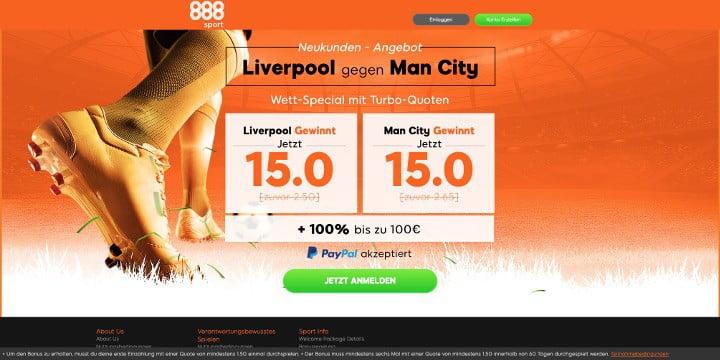 Das Liverpool gegen Man City Wett-Special von 888Sport