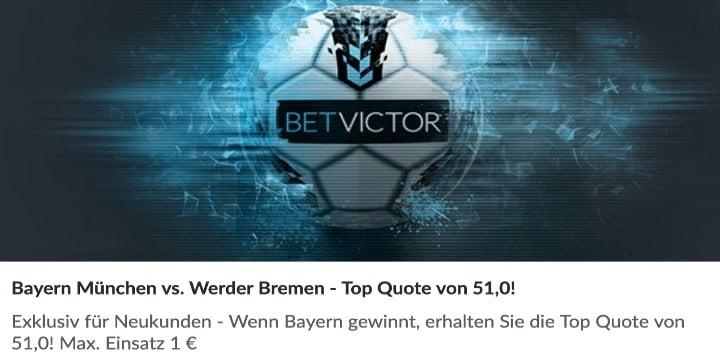 Mit der Top Quote von 51 auf den Sieg von Bayern gegen Bremen wetten
