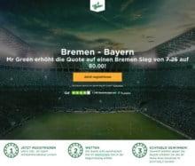 Mit der Top Quote von 80 auf den Sieg von Bremen gegen Bayern wetten