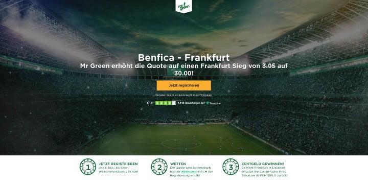 Mit Top Quote von 30 auf den Sieg von Frankfurt gegen Benfica wetten