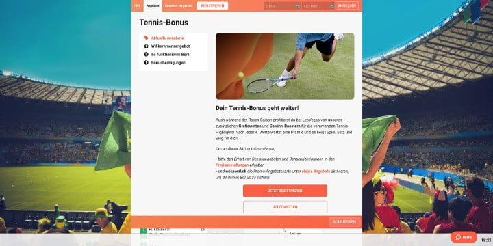 Auf Tennis wetten und Boni bei der Werbeaktion Tennis-Bonus kassieren