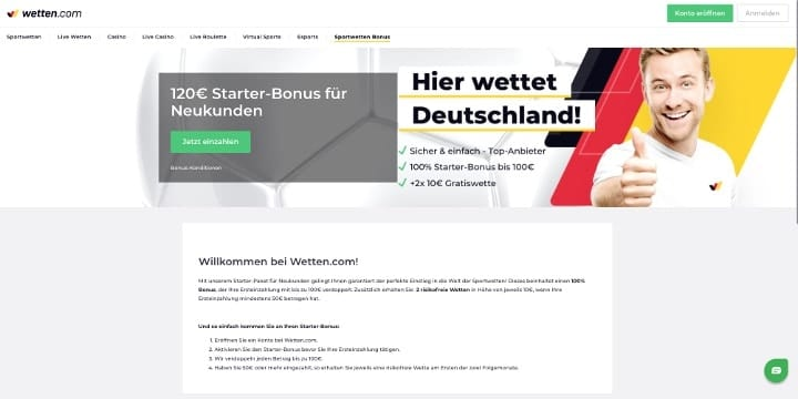 Willkommensbonus Wetten.com
