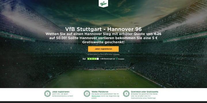 Mit Top Quote von 50 auf den Sieg von Hannover gegen Stuttgart wetten