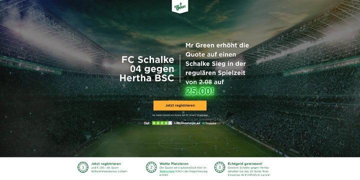 Mit der Top Quote von 25 auf den Sieg von Schalke gegen Hertha wetten