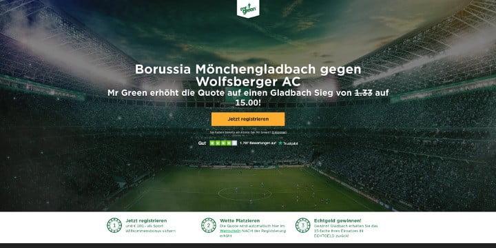 Auf den Sieg von Gladbach gegen Wolfsberger mit Top Quote 15 wetten