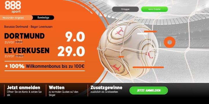 Auf Dortmund gegen Leverkusen bei 888Sport mit Top Quoten wetten
