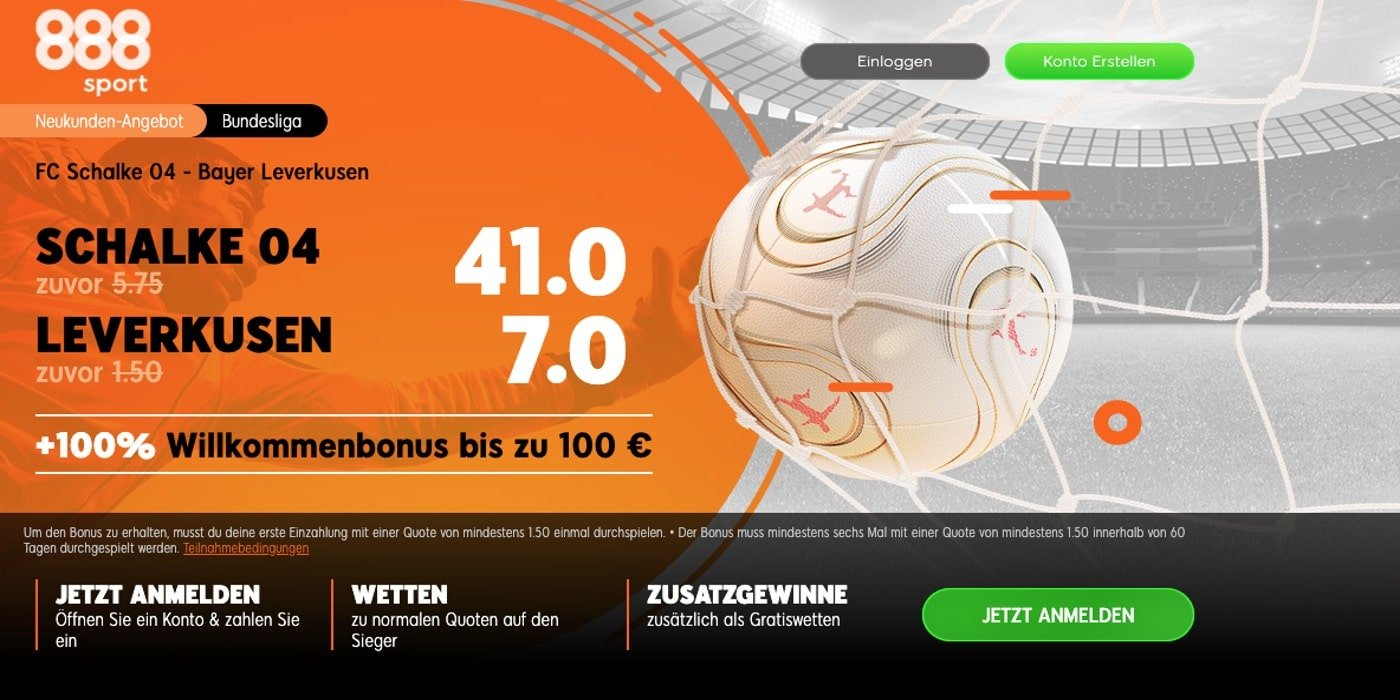 888Sport Neukundenbonus Schalke 04 - Leverkusen